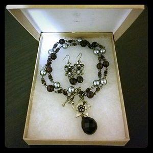 Jewelry - NEW Deep Purple jeweled Necklace/ Earrings Set