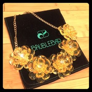 Bauble Bar  Jewelry - Yellow Crystal Flower Necklace