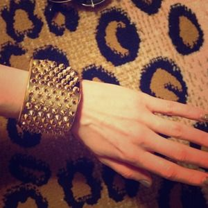Gold plated and spiked leather snap cuff bracelet