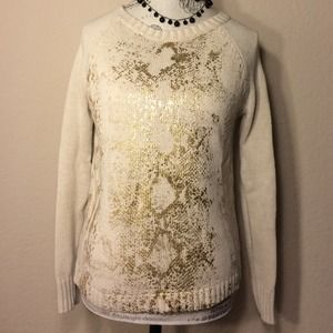a.n.a Sweaters - Cream colored sweater with gold snake print