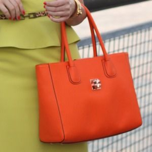 Orange Folli Follie tote bag