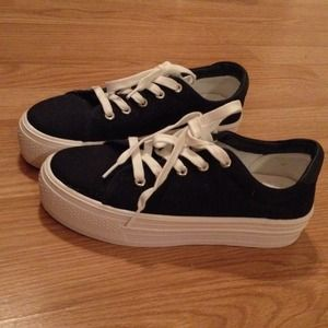 navy blue canvas platform sneakers