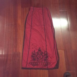 Vintage Mesh Over silk Maxi Skirt