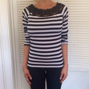 Black & White Striped Top w Lace Detail