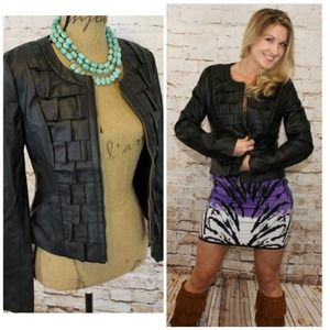  Black (faux) Leather Jacket with Ruffled Front
