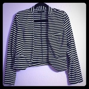 Zinga Jackets & Blazers - Cropped Black/White Striped Jacket