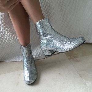 Bella Luna Shoes - Silver Glitter Boots