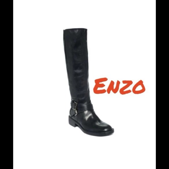 b8ee42345efb Enzo Angiolini Black Leather Wide Calf Boots 6.5