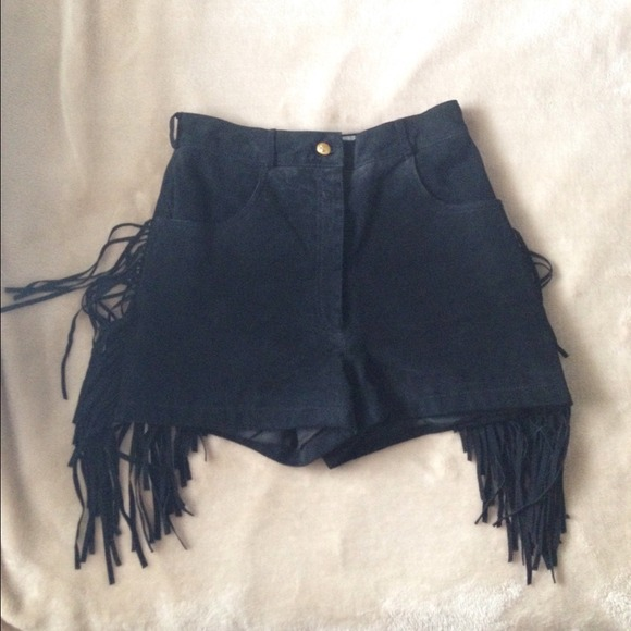 85% off Cache Pants - Leather Fringe High Waisted Shorts from ...