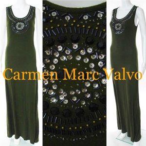 ➰ Olive Green Carmen Marc Valvo Maxi Dress