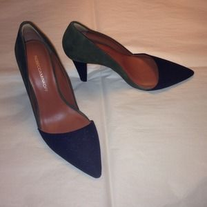 Rebecca Minkoff green & black D'Orsay pumps