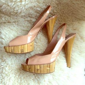 Miu Miu Bamboo Nude Patent Leather heels