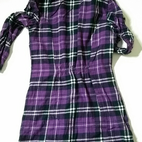 Derek Heart Purple Black Plaid Button Down Shirt From
