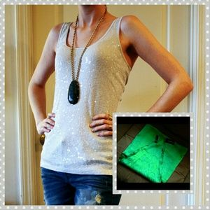 RESERVED BUNDLE! Grey tank and green scarf