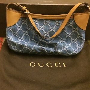  Authentic Gucci Denim Pouchette