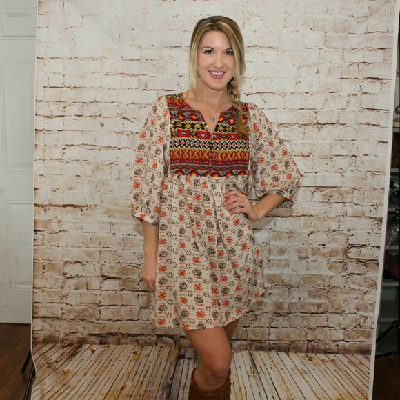 Boho Tunic Dress Boho Babydoll Tunic Dress w/