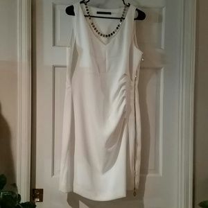 Ivanka Trump White Dress with Gold Zipper up side
