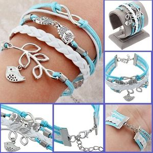 Turquoise leather wrap charm bracelet.