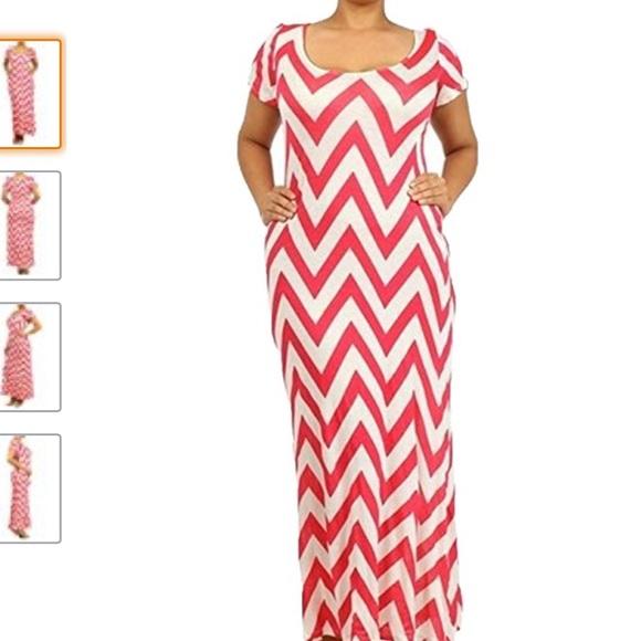 👗👠💕 Long Coral Chevron Maxi Dress Plus Size Boutique