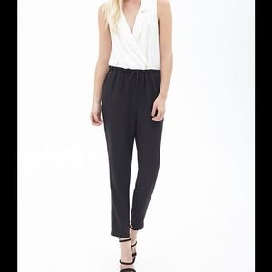 bf2dd787b41e Forever 21 Pants - White black tuxedo jumpsuit colorblock surplice