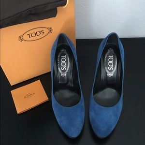 Tod's Shoes - TOD'S Blue Suede Heels • Size 36