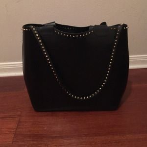 studded black leather Zara tote