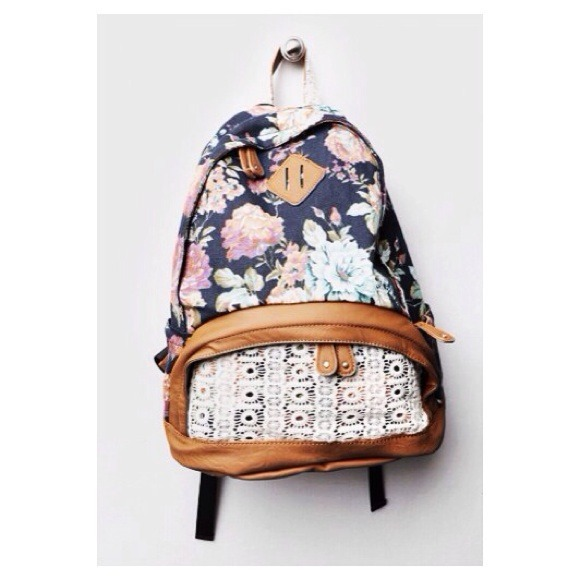 Floral and leather canvas backpack