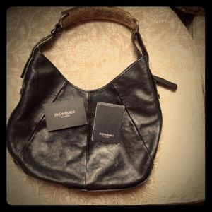 100% Authentic YSL Black Leather Mombasa Bag