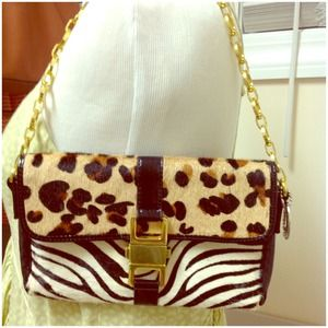 STM Animal Printed Color Block Clutch