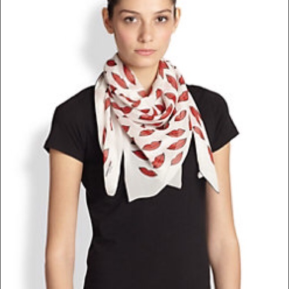 Saint Laurent Accessories - Saint Laurent Silk Lip-Print White/Red Scarf NWT