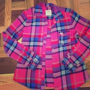 Abercrombie pink and blue plaid flannel