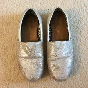 TOMS silver sequin shoes 8