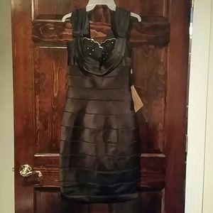 Black Silk Beaded Cocktail Dress!