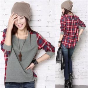 Tops - Cozy Chic Gray and Plaid Mix Top