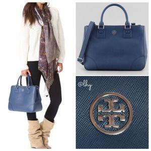 43033ab71f Tory Burch Bags - TORY BURCH ROBINSON DOUBLE ZIP TOTE BLUE