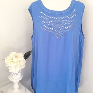 Tops - Blue Embellished Sleeveless Top