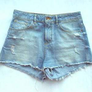 Zara high-waist ripped denim shorts
