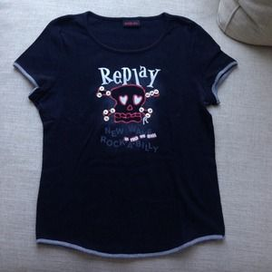 Replay Tops - Replay black cute shirt❤️💀💋
