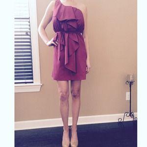 Rosebud Dresses & Skirts - Berry One-Shoulder, Ruffled dress
