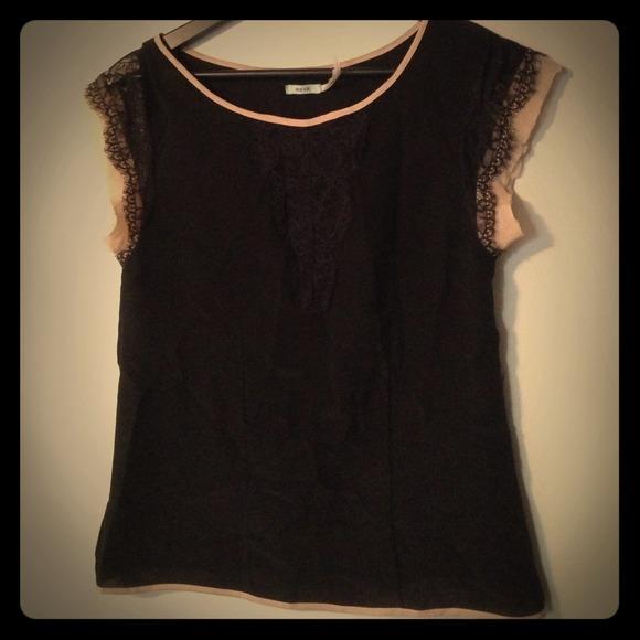 5bd55db15cf127 Kimchi Blue Tops | Black Lace Top W Peach Fabric Detail | Poshmark