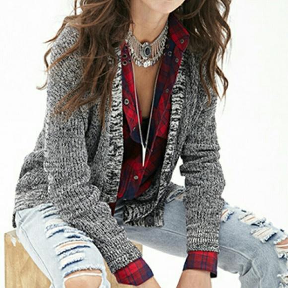 88ca7e974f7534 Marled knit button-front cardigan (Black Cream)