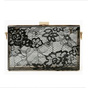 Handbags - Clear lacy black clutch with chain shoulder strap!