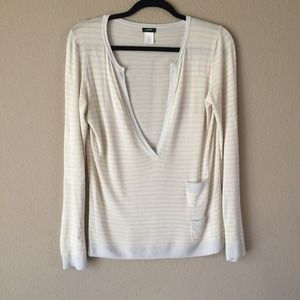 J Crew Striped Deep V Thin Sweater