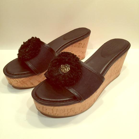 8135a50ea5 Coach Shoes   Jazmin Black Cork Wedge Sandal 75   Poshmark