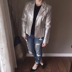 Silver Metallic Leather Blazer