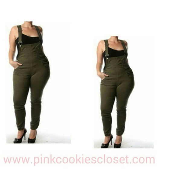 30% off Denim - Plus size Olive green skinny Jean overalls from ...