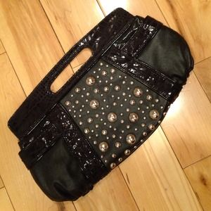 NWOT Black clutch with metallic embellishments