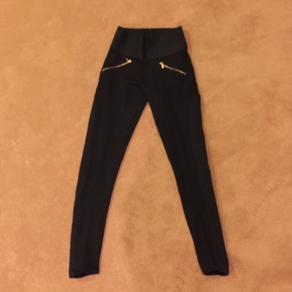 80a1461a644dfb High waisted Zara leggings Black with gold zippers.  M_54c08a5553bc250a9c037086. Other Pants ...