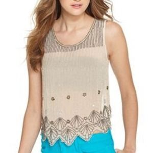 🎉HP 1/26🎉 Beaded Rhinestone Chiffon Tank
