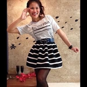 Kienamöss Dresses & Skirts - 🎉HP🎉✨ Black/White Stripe Pleat Puff Tulip Skirt✨